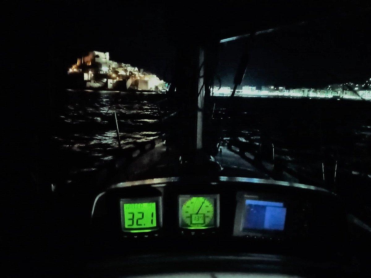 Night sailing on a sailboat in Peñíscola