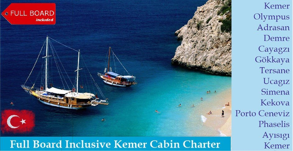 Gulet holiday from Kemer with Full Board Food Included